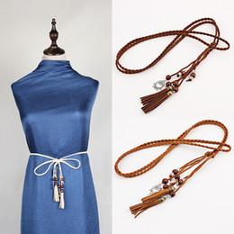 $enCountryForm.capitalKeyWord Canada - Solid Handmade Woven Belt Twist Tassel Tail Strap Hollowed Out Design Pendant Waist Chain Hot Sale 5ny B