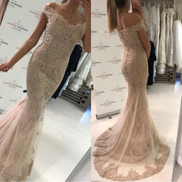 Pear droP crystal online shopping - 2018 Sparkly Champagne Full Lace Off the Shoulder Prom Dresses Mermaid Short Sleeves Covered Button Back Dress Evening Wear Cheap BA9403