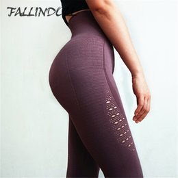 Super Tight Yoga Pants NZ - Women High Waist Yoga Pants Super Stretchy Gym Tights Energy Seamless Tummy Control Sport Fitness Leggings Purple Running Pants