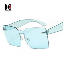 08e3e9b9a428 SHAUNA Spring Summer Styles Oversized Women Square Sunglasses Fashion Brand  Designer Men Rimless Tint Lens Glasses