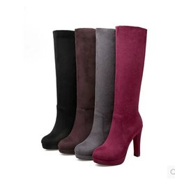 Discount boots united states - Europe and the United States autumn and winter wine red high - heeled thick with high boots stovepipe in the boots round