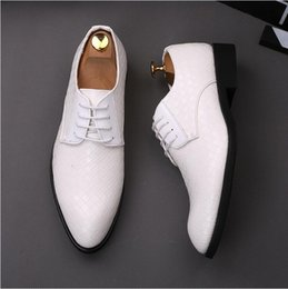 men knitted shoes NZ - 2018 New Style luxury Men PU Knit lace-up Flat leather shoes High Quality Breathable Casual Pointed Toe Party Dress Wedding Shoes S240