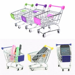 Children Trolley Wholesale Canada - 10psc lot Baby Trolley Supermarket Handcart Toy Carts Storage Folding Mini Shopping Cart Basket Toys for Children Boys 7 Colors