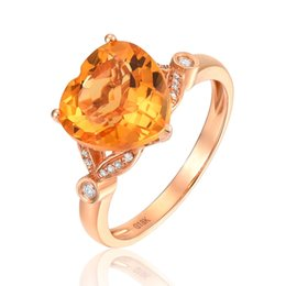 $enCountryForm.capitalKeyWord UK - ENZO Pure 18K Rose Gold (AU750) 1PC 3.5CT Citrine With 18PC 0.06CT Diamond Engagement Women Ring Classic Jewelry