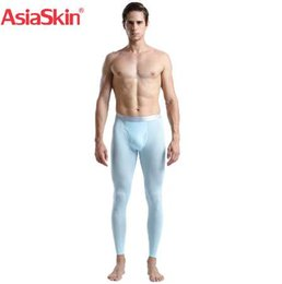 thin thermal underwear UK - Men Thermal Underwear Long Johns Ice Silk Slim Seamless Sexy Mens Tight Underpants Leggings Ultra-thin Calzoncillos Hombre