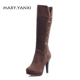 Winter Women Lady Shoes Long Boots Knee High Boots Flock Platform Crystal  Fleeces Zip Round Toe High Square Heels Big Size Solid 6014336c4269