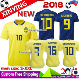 52a6dbd94 Free shipping 2018 World Cup Sweden Soccer jersey home yellow 18 19 Sweden  Team National IBRAHIMOVIC LJUNGBERG LARSSON away Football shirt