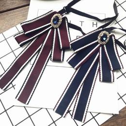 f37bbdea126 Fashion Korea Styles Necktie Brooch Pins Handmade Bow Tie Crystal Corsage  Stariped Fabric Brooches Women Dress Shirt Accessories