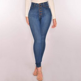 Push Button Blue NZ - England Style Slim High Waist Skinny Jeans Women Push Up Sexy Button Plus Size Vintage Pencil Pants Mujer Cotton Denim 2018 New