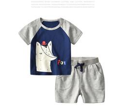 fb777e917656 2 Style Summer Boys INS baby clothes fox dinosaur sets 2018 new children  cartoon Short sleeve T-shirt +shorts 2 pcs Suit