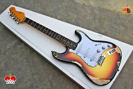 Cheap quality guitars online shopping - High Quality cheap price GYST TS color antique Do Old with white pearl plate ST Electric Guitar Can be Customized