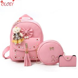 91a3f9f6910f cute black bags for school 2018 - Fashion Women Bag Composite Backpack Pu  Leather Bowknot Cute