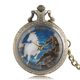 $enCountryForm.capitalKeyWord NZ - Horse Theme Reloj De Bolsillo Small Size Quartz Pocket Watch Retro Stainless Steel Round With Necklace Chain for Men Women Gifts
