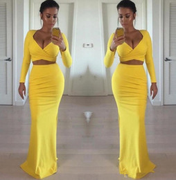 Wholesale girls sexy tight dress resale online – Sexy African Black Girls Yellow Prom Dresses Long Sleeves Two Pieces Tight Formal Sexy Evening Gowns Party Dress Cheap