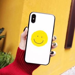 $enCountryForm.capitalKeyWord Australia - for iphone X 8 7plus 6s phone case glass Shell 2 in 1 painting Scratch-resistant flowers IMD Printing black Smile face