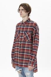 ae201cff93 Camisas de diseñador para hombre Fear Of God Camisas a cuadros FOG Franela  Amarillo Camisa roja Kanye West High Street Wear