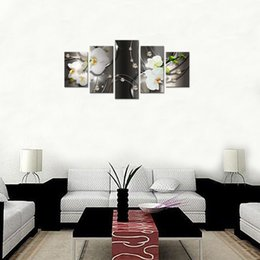 $enCountryForm.capitalKeyWord Canada - 5 Pieces Canvas Painting White Orchid Flowers Wall Art Painting Diamond Fringe Background Wall Art For Home Decor with Wooden Framed Gifts