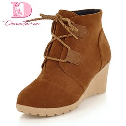 woman shoes heels 44 UK - wholesale new Fashion plus Size 33-44 Shoes Woman Boots Wedge high Heels Lace Up Solid Ankle Boots Women Shoes snow boot