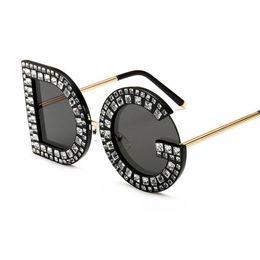 5c2f1b2b17 2019 Nuevo Diamante de Lujo de Gran Tamaño D Gafas de Sol Cuadradas Mujeres  Hombres Gafas de Sol de Alta calidad Lentes de Sol de Lujo