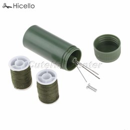 Threaded Needle Kit NZ - Mini Sewing kit Cylinder case Portable Travel with threads Needles Craft Sewing box set Army Green Hicello