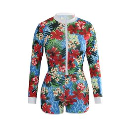 Floral two piece short set online shopping - Summer Casual Two Piece Tracksuits Women Long Sleeve Jacket Sexy Flower Printed Short Ladies Set Tracksuits S XL