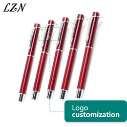 $enCountryForm.capitalKeyWord Australia - LZN All Red Color Metal Pen Fashion Style Ballpoint Pens Office Writing Stationery Free Engraved Text Logo For Special Time Day