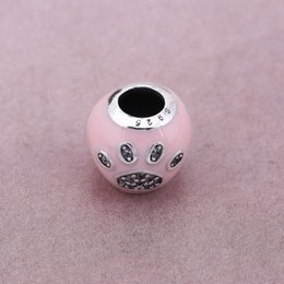 925 Pink Silver Bracelet Australia - Authentic 925 Sterling Silver Bead I Love Dog Paw Print Silver Charms CZ Crystal Pink Enamel Animal Beads Fit Bracelets Bangles DIY Jewelry