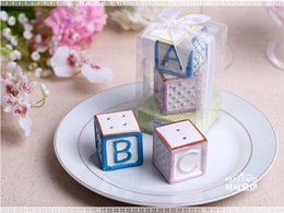 "$enCountryForm.capitalKeyWord Australia - ""New Baby on the Block"" Ceramic Baby Blocks Salt & Pepper Shakers Wedding Decoration Gifts Favors 100set"