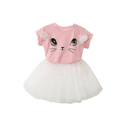 8c12f55574336 Meninas Vestido Nova Moda Roupas de Verão Bonito Dos Desenhos Animados  Estilo Vestido T-shirt e Conjuntos Curtos, Rosa + Branco Gato Borboleta