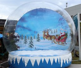 Giant Inflatable Snow Globe With Santa Claus Crystal Transparent Inflatable Christmas Globe Ball Outdoor Supermarket Decorations Costumes & Accessories