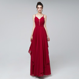 chic formal evening gown UK - Cheap 2019 Sexy red prom dresses long chic chiffon spaghetti straps floor length formal evening party gowns real picture