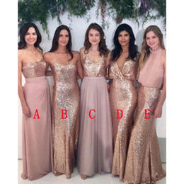 Lavender Blush Wedding Dress Australia - Bridesmaid Dresses Modest Blush Pink Beach Wedding with Rose Gold Sequin Mismatched Wedding Maid of Honor Gowns Women Party Formal Wear 2018