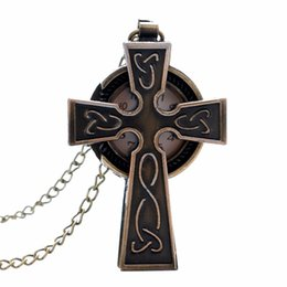 resin crosses for Canada - 1 Pcs Relogio De Bolso Cool Cross Design Vintage Bronze Quartz Fob Chain Pocket Watch For Women Man