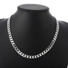 Mexican Link Chain NZ - Classic style 8mm 925 Sterling Silver plated Mens Chain Necklace Fashion Hip hop Link Necklaces for Women