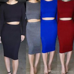 502a78cd97a 2018 Office Lady Style Sexy Cheap Dresses Skirt Long Sleeve Autumn Clothing  Pencil Skirt Professional Women Clothes set