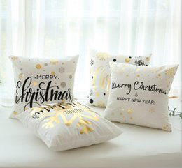 $enCountryForm.capitalKeyWord NZ - Christmas Amazon Hot Sale Nordic Style Flannel Stamping Pillow Case Snowflake Car Sofa Cushion
