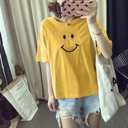 pink punk clothing 2019 - 2018 Yellow Cute Smile Print Tshirt Women Harajuku Punk Fashion T-shirt Black White Tops Summer Women Kawaii Clothes Tee