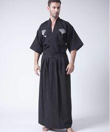 Chinese  Black Classic Japanese Samurai Clothing Men's Warrior Kimono With Obi Traditional Yukata Haori Halloween Costume One Size B-067 manufacturers