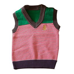 knitting baby vest UK - Spring Autumn Children's Sweater Vest Soft Baby Kid Boys Girls Knitted Sweater V-Neck Color Stripe Embroidery Bear Pullovers