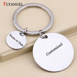 keyring engraving 2019 - New 25mm+10mm Round Keychain Customized Engraved Letter Key Chain Gift for Women Men Keyring Family Friends Couples Keyc