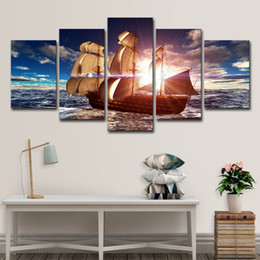 $enCountryForm.capitalKeyWord NZ - 5 PCS Canvas Print Pictures Wall Art Framework 5 Pieces Sunshine Sailboat Painting Sailing Boat Seascape Poster Home Decor Living Room