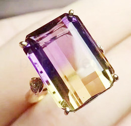 $enCountryForm.capitalKeyWord NZ - Ametrine ring Free shipping 925 sterling silver 7.3CT 10*14mm gem For men or women Fine handworked jewelry #J18062102