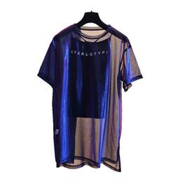 5dc5c7fd Jelusaleng 2 Pcs Set Sexy Mesh Sheer Holographic Tops Tee Women 2018  Fashion Nightblue See-Through T Shirt Short Sleeve Shiny