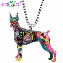 NEWEI Maxi Declaração Liga de Metal Doberman Dog Gargantilha Colar Cadeia Colar Pingente de Moda de Nova Esmalte Jóias Para As Mulheres venda por atacado