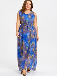 Wipalo Plus Size Peacock Feather Print Maxi Chiffon Dress Women 2018 Summer  Sleeveless Dresses Casual Long Beach Dress Robe 6XL d394ab104ac5