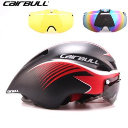 tt helmets 2019 - CAIRBULL 3 Lens Aero 290g TT Goggles Bike Helmet Road Cycling Bicycle Sports Safety Helmet Riding Mens Racing In-Mold He