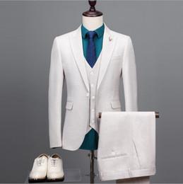 c0440ca9188 2018 por encargo de los hombres traje blanco chaqueta chaleco chaleco  vestido formal conjunto de hombres trajes de boda novio esmoquin para hombre  chaqueta