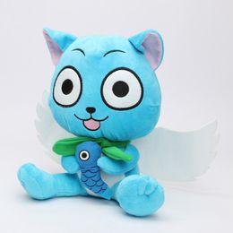 kid video cartoon 2019 - 23cm New Super Cute Fairy Tail Blue happy Cat Cartoon Soft Plush Toy stuffed toy doll Gift for Kids cheap kid video cart
