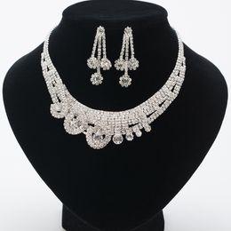 $enCountryForm.capitalKeyWord NZ - 2018 Hot Selling Women Fashion Korean Style Crystal Wedding Earrings Adjustable Pendant Necklace Bridal Jewelry Set Cheap Free Shipping