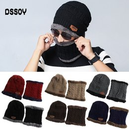 f43635b3af5de Thick Acrylic Knitted Cable Beanies And Neck Warmer 2PCS Set Winter  Cashmere Head Warmer Hat Scarf For Adults Mens Womens Gorro Ski Gorra